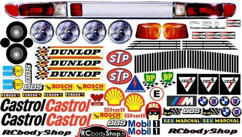 planche stickers carrosserie 1:5 BMW CSL 3.0